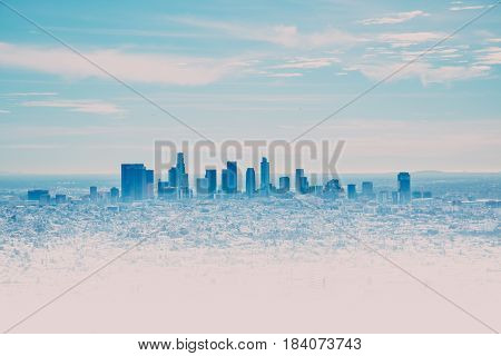 Los Angeles Skyline with its skyscrappers from the Hollywood Hills California USA