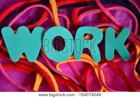work word on a  abstract colorful background