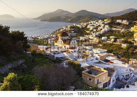 View of Panteli village on Leros island in Greece early in the morning.