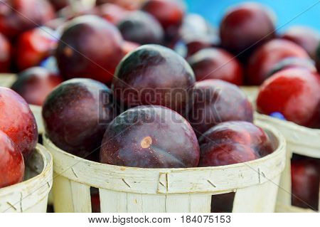Purple Plums For Sale At The Rural Market. Close Up.