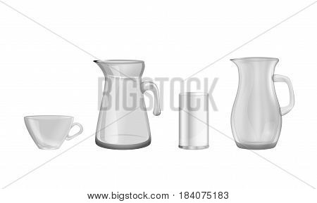 Glass transparent dishes. Decorative household items, vector illustration