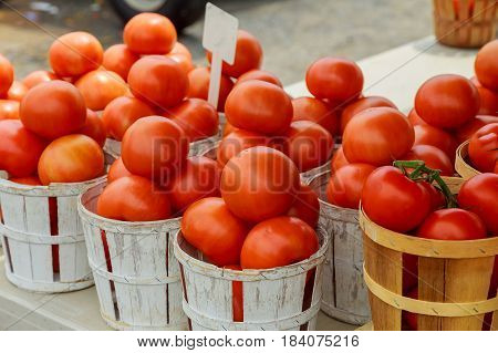 Tomatoes On Display For Sale Farmer's Market