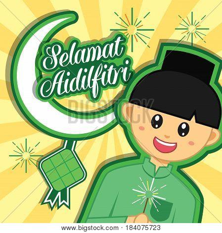 Hari Raya Aidilfitri vector illustration with cute muslim boy. Caption: Fasting Day of Celebration