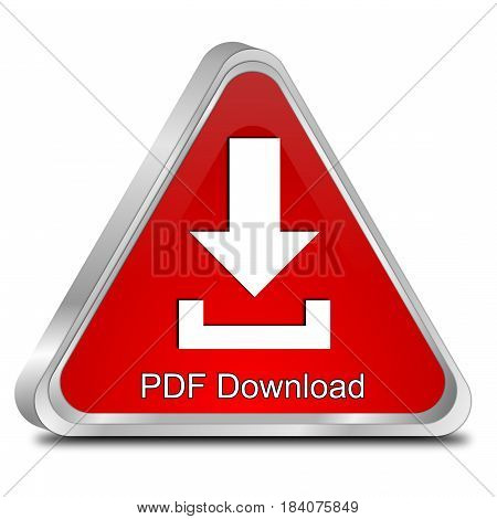 red PDF Download button on white background - 3d illustration