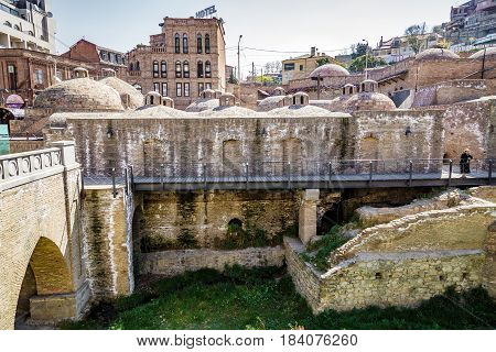 Sulfur baths in the ancient district of Tbilisi Abanotubani. April 17 2015