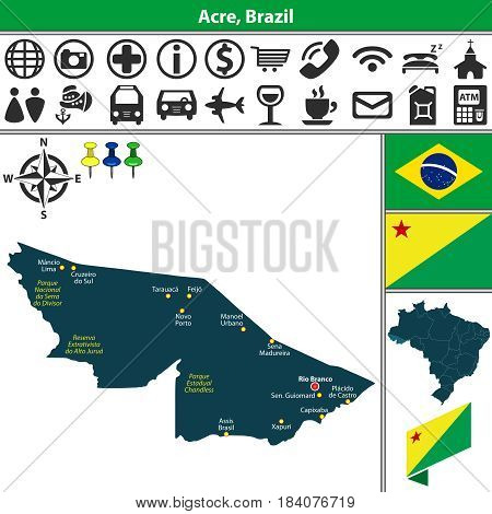 Vector map of Acre region with flags and location on Brazilian map