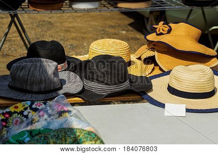 Summer Hats For Sale In Market Stall Outdoor