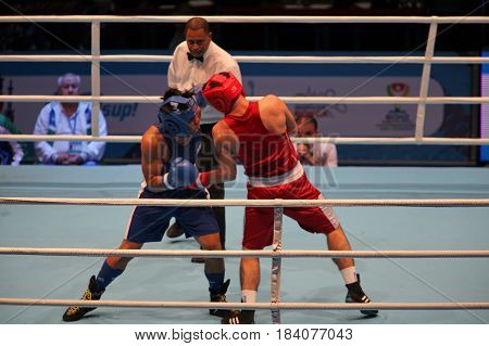 St. Petersburg Russia November 22 2016 Youth World Boxing Championship men. Boxing match single combat