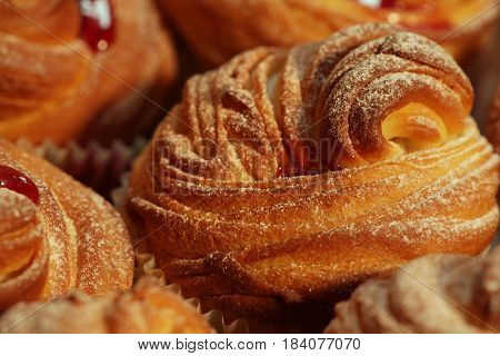 the American cruffins with jam powdered sugar