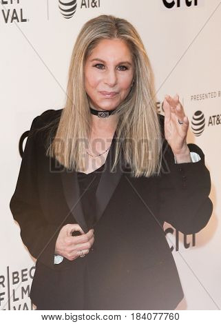 NEW YORK-APR 29: Singer Barbra Streisand attends the 'Tribeca Talks Storytellers: Barbra Streisand with Robert Rodriguez' at BMCC during 2017 TriBeCa Film Festival on April 29, 2017 in New York City.