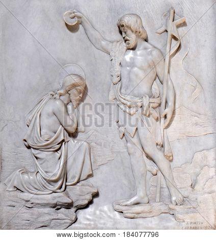 ROME, ITALY - SEPTEMBER 02: Baptism of the Christ, Church San Giacomo in Augusta in Rome, Italy on September 02, 2016.