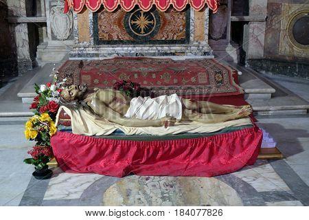 ROME, ITALY - SEPTEMBER 02: Body of Christ in the Church San Giacomo in Augusta in Rome, Italy on September 02, 2016.