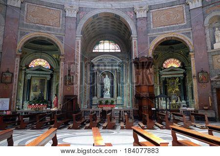 ROME, ITALY - SEPTEMBER 02: Church San Giacomo in Augusta in Rome, Italy on September 02, 2016.