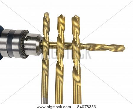 Drill and drill bit on white background