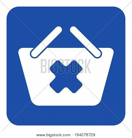 blue rounded square information road sign with white shopping basket cancel icon