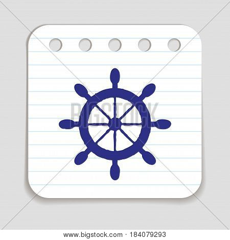 Doodle ship wheel icon. Blue pen hand drawn infographic symbol on notepaper piece. Line art style graphic design element. Web button with shadow. Nautical steering vessel concept. Vector illustration