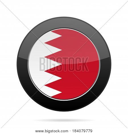 National flag of Bahrain. Shiny black round button with shadow.