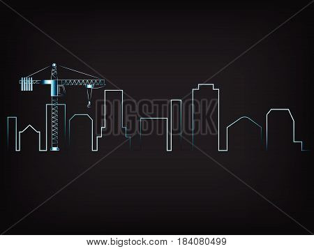 Imaginary City Skyline Vector With Tower Crane