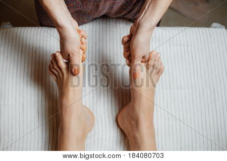 Spa Treatments. Simultaneous Massage Of The Toes