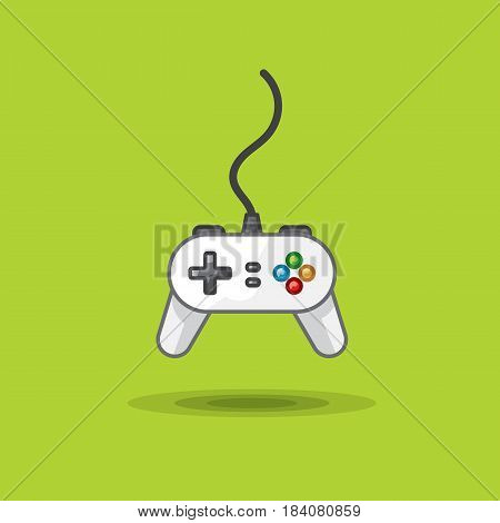 Vector icon of game joystick to play station on green background. Illustration gamepad for game console. Game console for video games poster