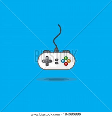 Vector icon of gamepad to play station on blue background. Illustration game joystick for game console. Game joystick for video games console