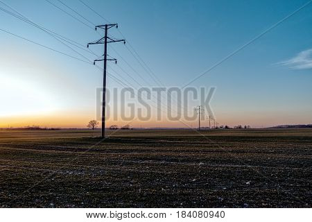 Field with electrical line at sunset light.