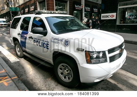 New York April 28 2017: A Federal Protective Service vehicle is parked in the street in downtown Manhattan.