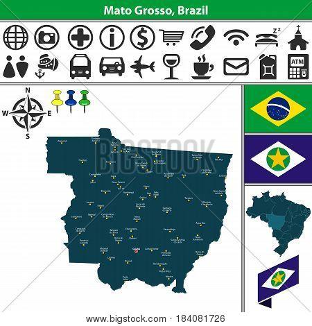 Map Of Mato Grosso, Brazil