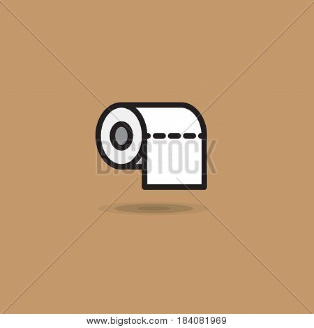 Vector icon roll of toilet paper with smooth edge on brown background. Illustration toilet paper roll