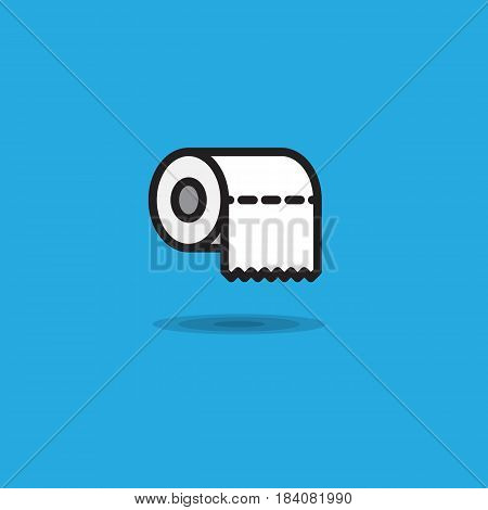 Vector icon toilet paper rollroll of toilet paper with uneven edge on blue background. Illustration roll of toilet paper