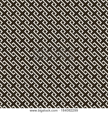 Vector seamless pattern. Infinitely repeating stylish elegant texture consisting of diagonal corner strips. Abstract geometrical background.