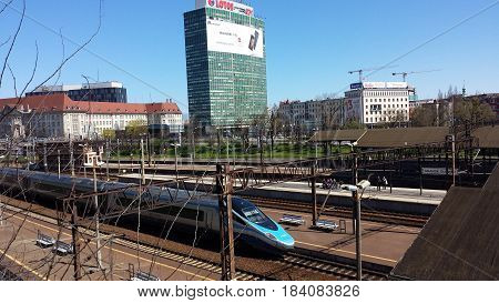 Gdansk, Poland - April 30, 2017: Fast train Pendolino at the railway station in Gdansk, Poland