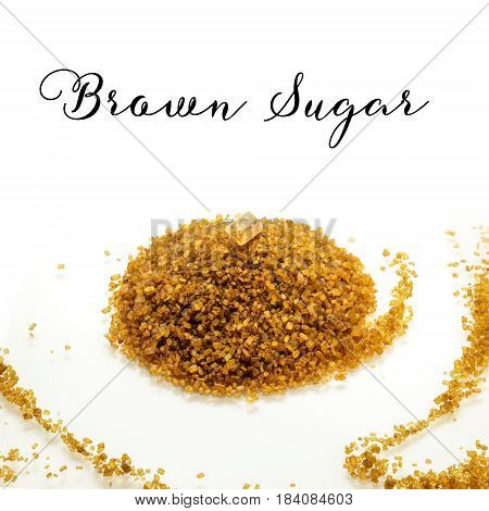 A square photo of a mound of brown sugar with a candy on top, on a white background with a place for text