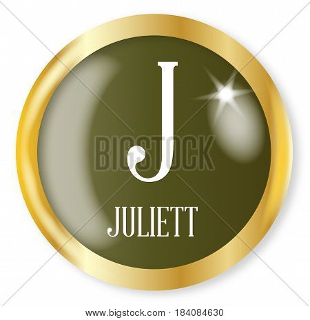 J for Juliett button from the NATO phonetic alphabet with a gold metal circular border over a white background