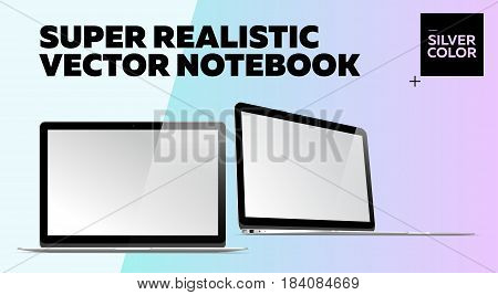 Super Realistic Vector Notebook with Blank Screen. Silver Color. Isolated Mockup with Thin Laptop for Web Website User Interface. Front and Side View Macbook Style.
