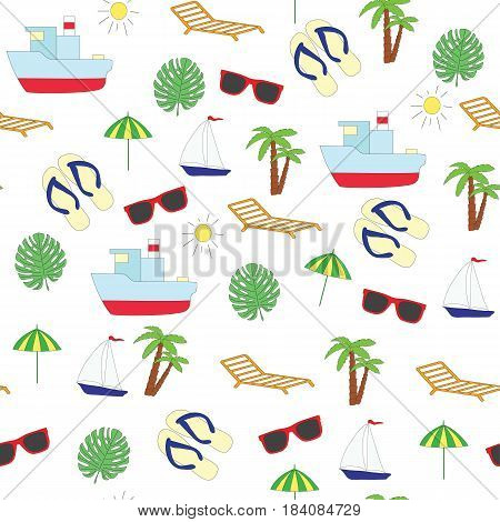 Seamless picture on summer sea subject. A vector pattern with the ship, slaps, sunglasses, a chaise lounge, a palm tree, the sun on a white background