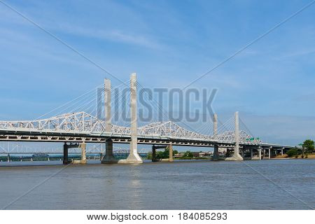 View of Bridges on the Ohio River in Louisville Kentucky