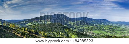 Panoramic view of the Beskydy Mountains/Czech Republic/