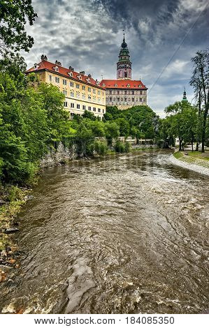 Summer view of the castle of Czech Krumlov and the surrounding surroundings/Czech Republic/