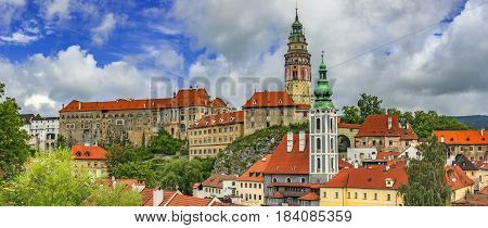Panoramic summer view of the castle of Czech Krumlov and the surrounding surroundings/Czech Republic/