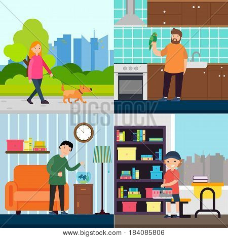People and pets concept with woman walking dog boy feeding fish man holding parrot kid with rat vector illustration