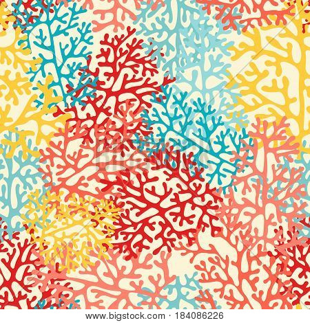 Colorful sea corals. Vector seamless pattern for design and decoration of fabric wallpaper home textile packaging and surfaces