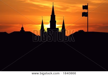 St Louis Cathedral At Sunset