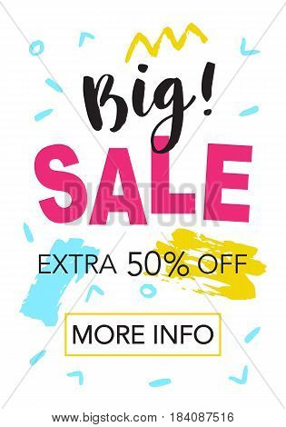 Big Sale mobile banner template for online shopping. Vector Illustration