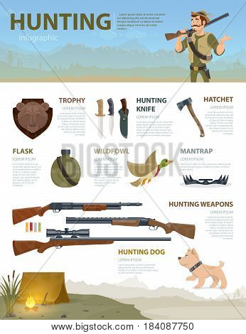 Colorful hunting infographic concept with hunter shotgun rifle dog trap duck hatchet knives trophy flask vector illustration