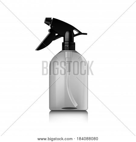 Realistic spray pistol cleaner, plastic bottle, trigger spray. Vector mock up bottle. Ready for your design. Product packing