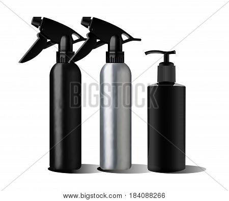 Realistic black bottle. Realistic spray pistol cleaner, plastic bottle, trigger spray. Soap pump. Mock up set. Cosmetic vial, flask, dropper-bottle, shampoo, oil gel Label sticker