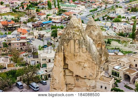 Goreme rock landscape in Cappadocia, Anatolia, Turkey