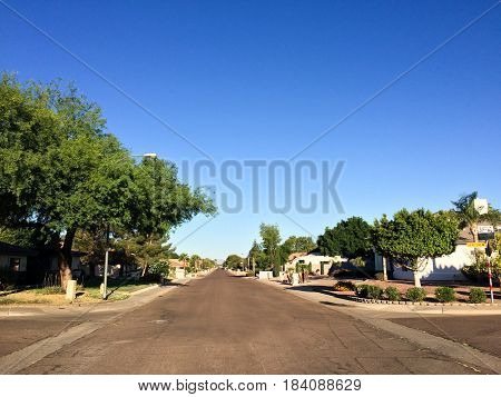 Pedestrian-free West Monte Cristo and North 37th Avenue intersection in residential area on Phoenix AZ