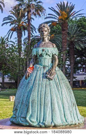 Funchal, Madeira - April 29, 2017: The monument Sisi (Empress Elizabeth Bavarian), Portugal